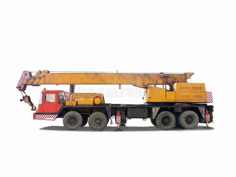 Truck crane. Over white background royalty free stock photography
