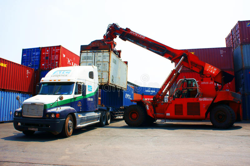 Truck crane container to trailer,Vietnam depot stock images