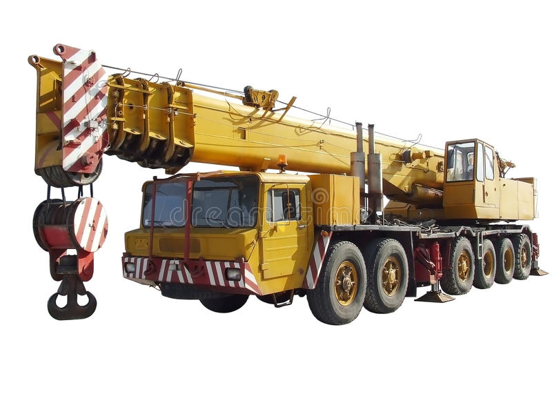 Truck crane isolated. Yellow truck crane isolated on white background stock images