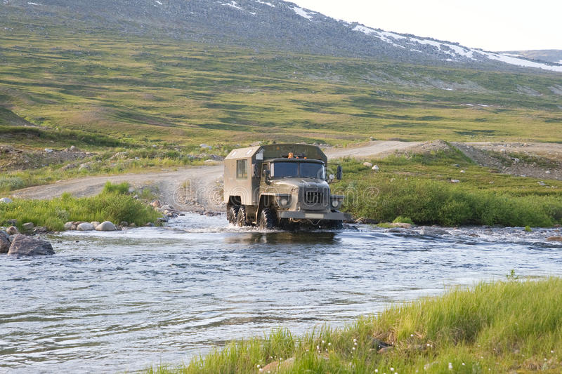Download Truck crossing a river stock image. Image of adventure - 14201969