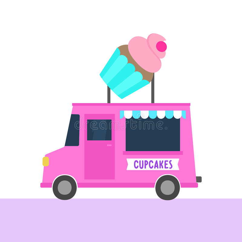 Truck with cupcakes. Street food. royalty free illustration