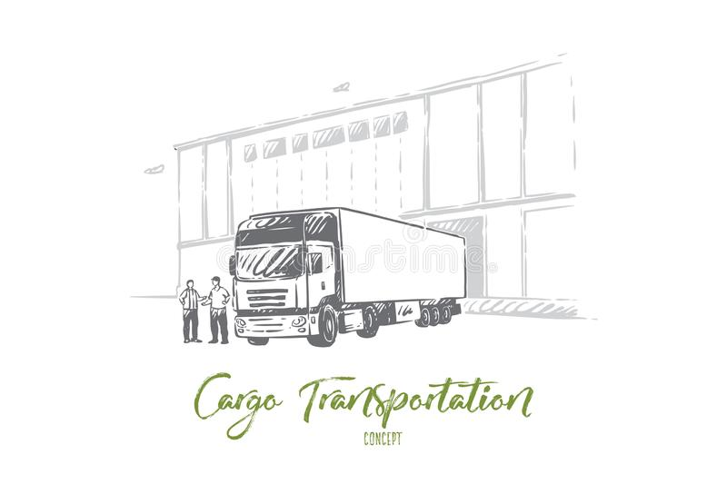 Truck delivering cargo, unloading goods into warehouse, logistics and distribution, wholesale supplier. Truck delivering cargo, unloading goods into warehouse stock illustration