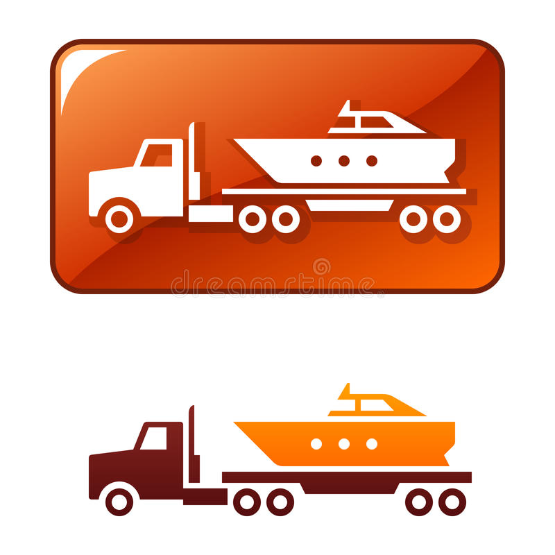 Truck delivers the boat. Vector icon stock illustration