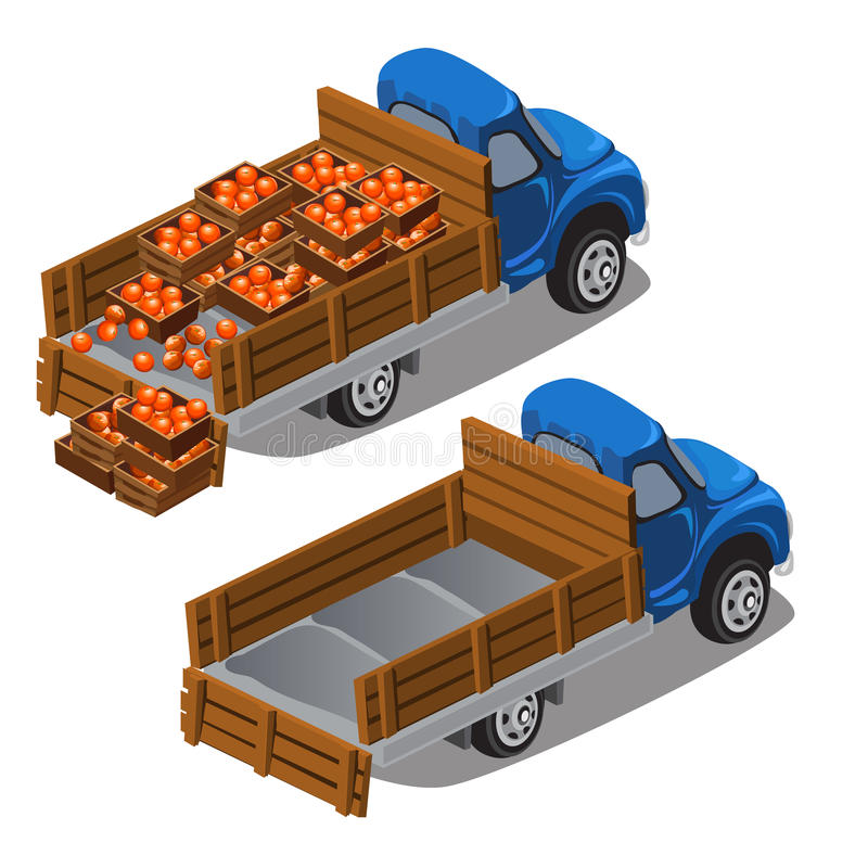Truck delivers oranges, full car and empty. Vector illustration isolated royalty free illustration