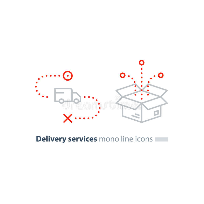 Truck delivery and box package, transportation services line icons royalty free illustration