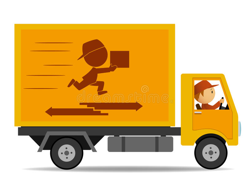 truck delivery with driver stock vector. illustration of horizontal
