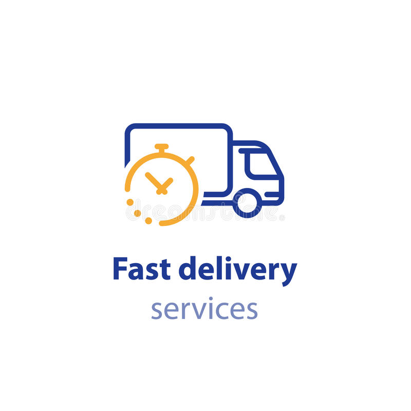 Truck delivery duration, fast relocation services, transportation company logo element, shipping order day, distribution line icon stock illustration