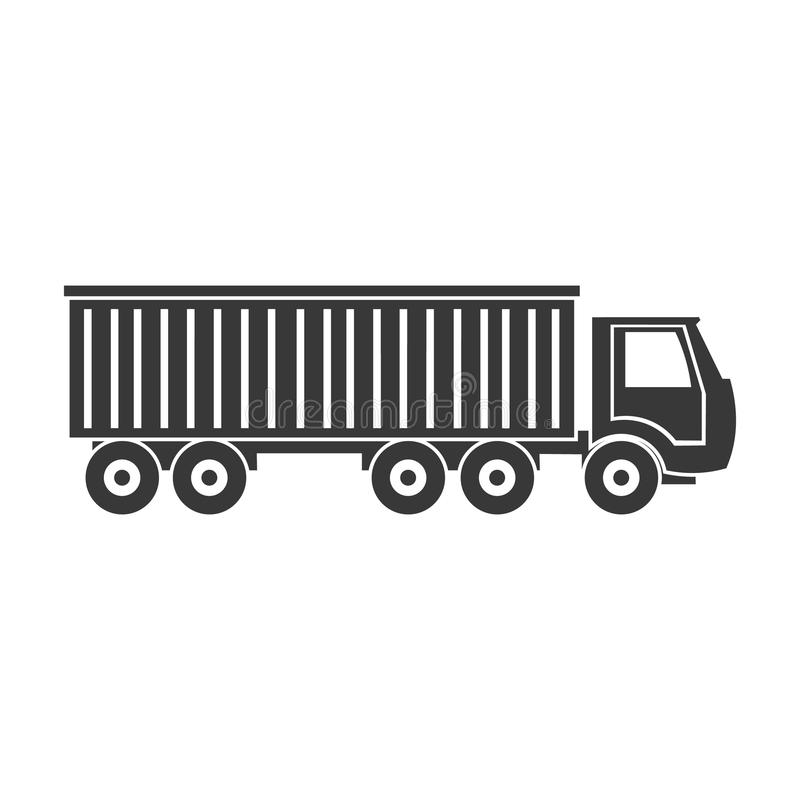 Truck delivery icon in black style on white background. Logistic symbol stock vector illustration. stock illustration