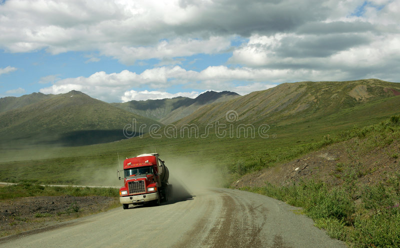 Truck on Dempster Highway royalty free stock photos