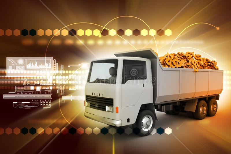 Download Truck with Dollar money stock illustration. Image of drive - 42920235