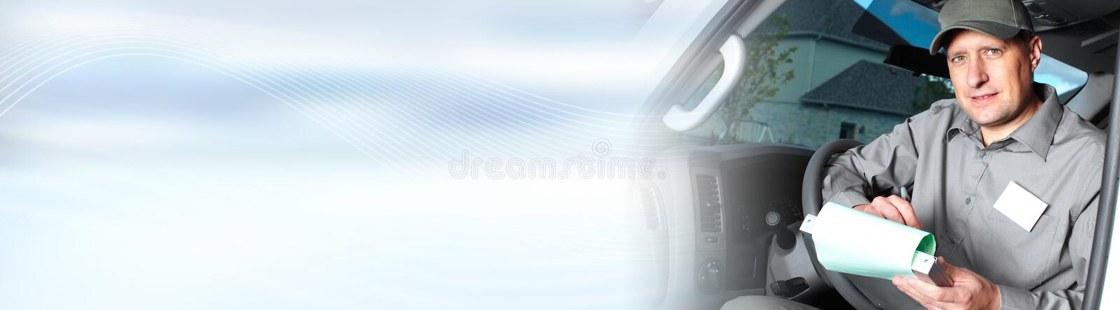 Truck driver. Driver of delivery company truck man composite image background royalty free stock images