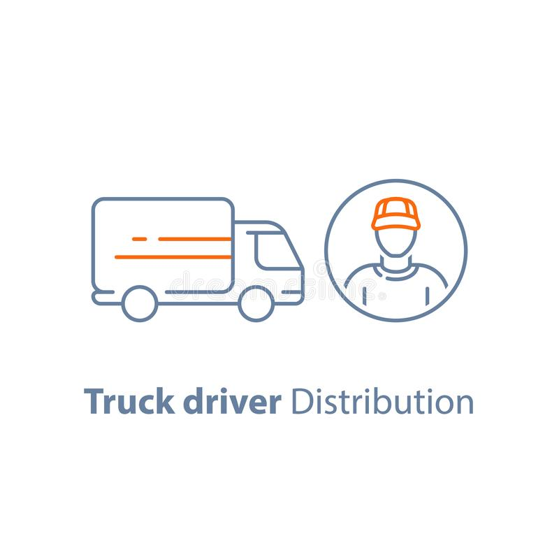 Courier man, transportation vehicle, ruck driver, delivery person, distribution service, logistics company, vector icon stock illustration