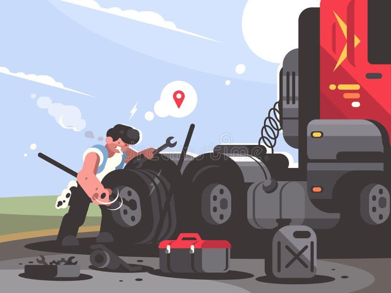Truck driver is repairing car. Trucker lorry changes wheel. Vector illustration vector illustration