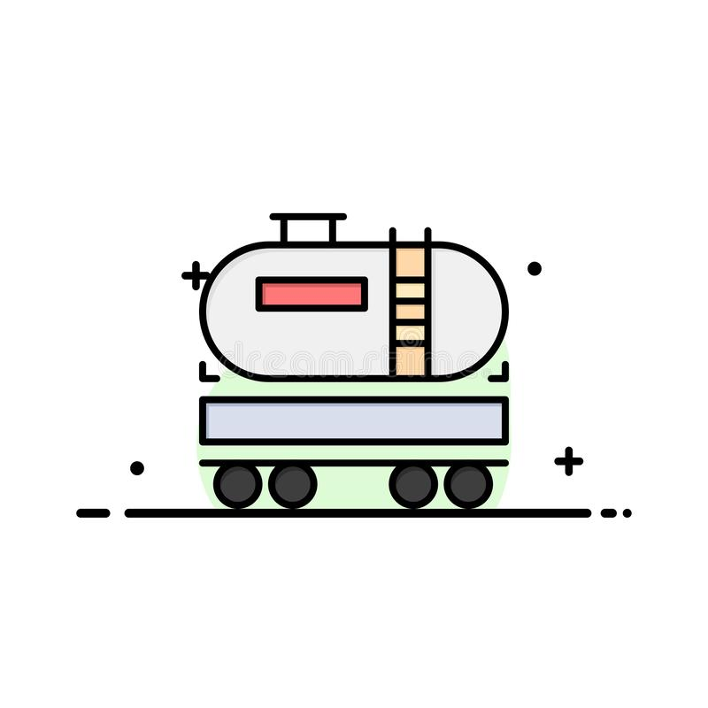 Truck, Dumper, Oil, Construction Business Logo Template. Flat Color royalty free illustration