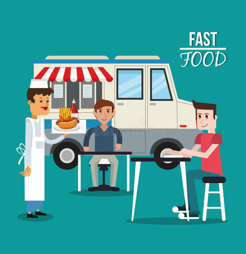 Truck and fast food design. Truck and delivery icon. fast food menu american and restaurant theme. Colorful design. Vector illustration stock illustration