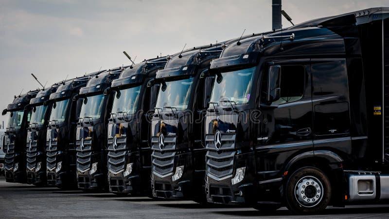 Truck Fleet Mercedes-Benz Actros 1845 Euro 6 stock image