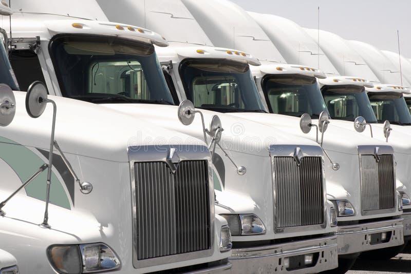 Truck Fleet Trucks in a row stock photos
