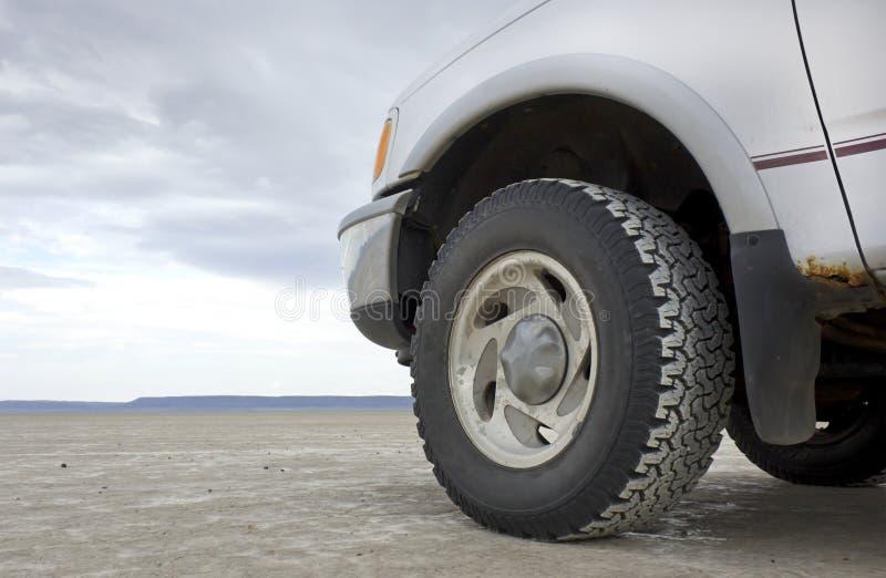 Truck Front End On Desert Playa Stock Photo