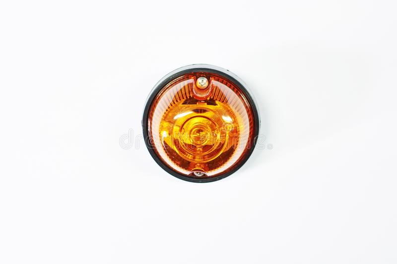 Truck front turn signal lamp. With a yellow plastic glass stock photo