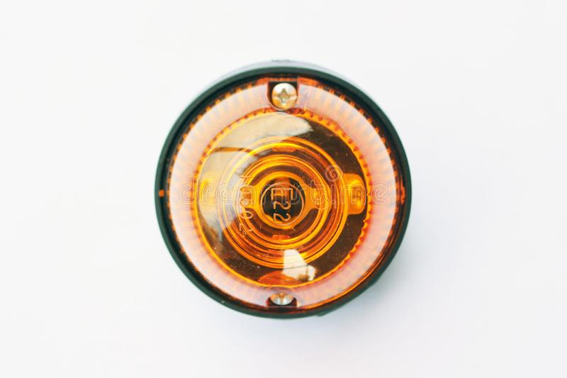 Truck front turn signal lamp. With a yellow plastic glass stock image