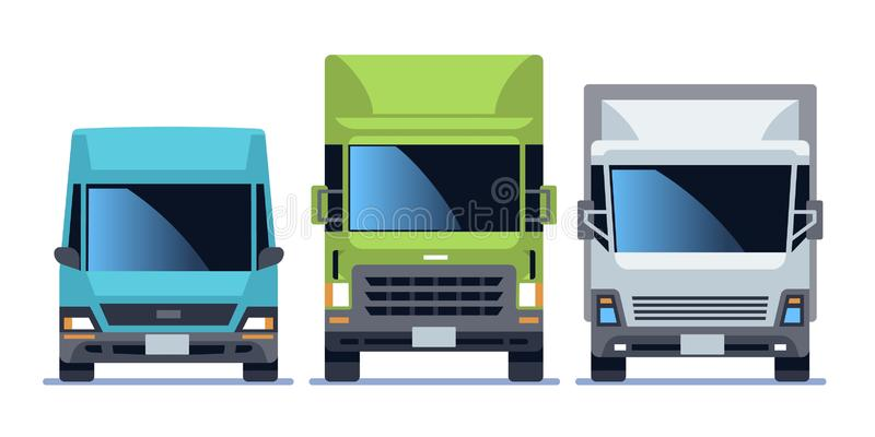 Truck front view set. Urban city vehicle model cars for delivery. Road traffic driving flat vector illustration stock illustration