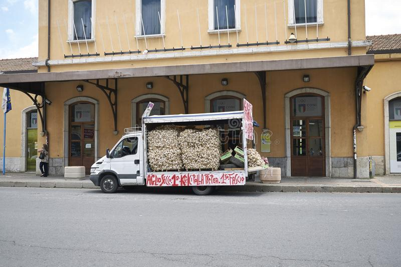 A truck full of garlic stock photo