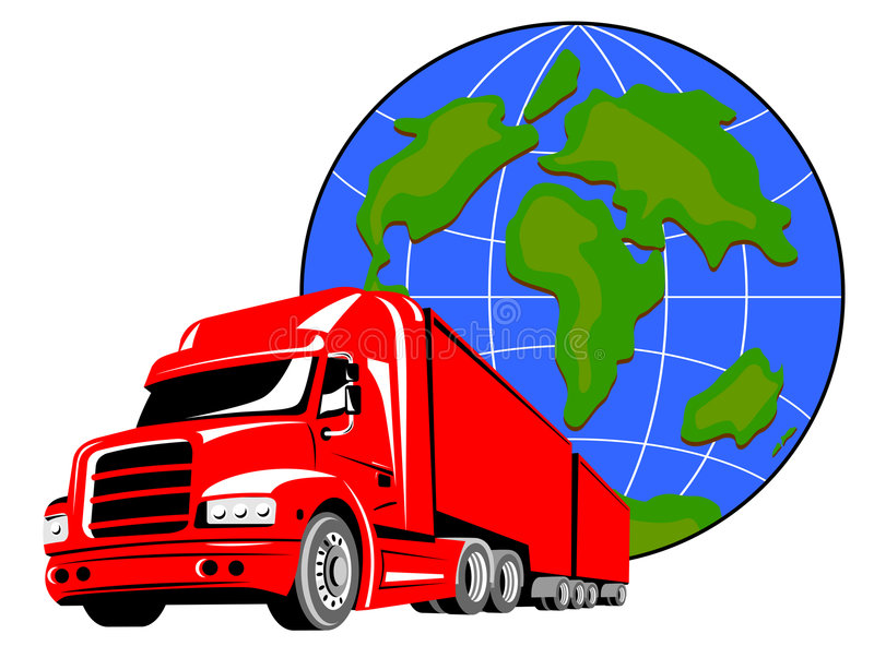 Truck with globe. Vector art of a Truck with globe in the background royalty free illustration