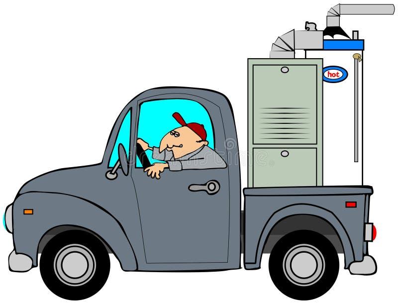 Truck hauling a furnace stock illustration