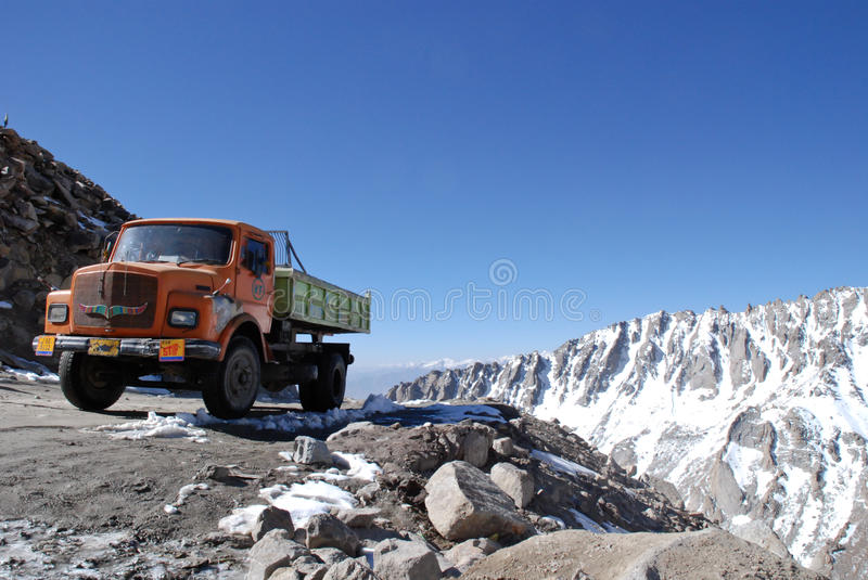 Truck on the highest motorable road