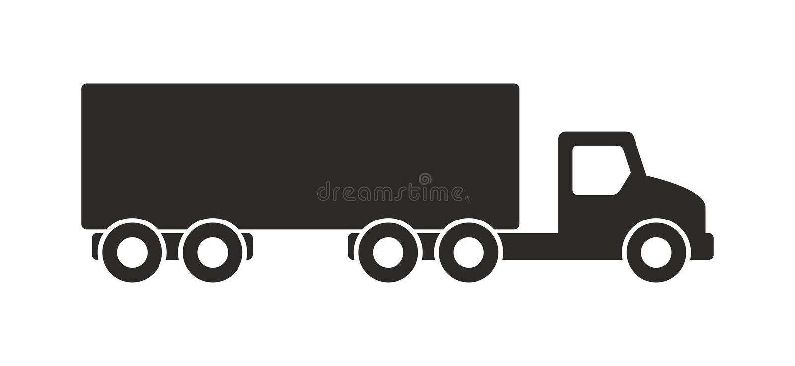 Truck icon, Monochrome style. Isolated on white background royalty free illustration