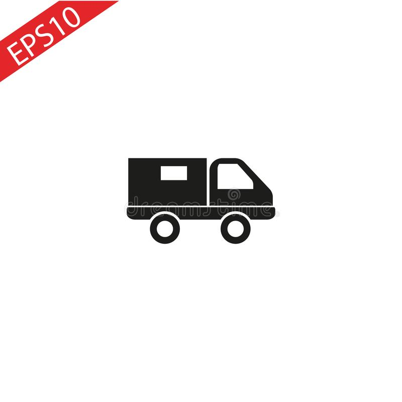 Truck icon vector. Delivery van, service concept, Minimalistic sign isolated on white background. Trendy Flat style for graphic de vector illustration