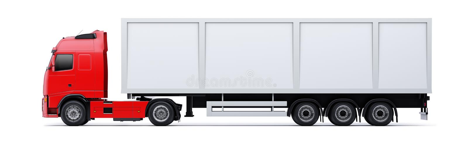 Truck isolated. Profile view of a large truck with a red cab section, isolated against a white background royalty free illustration