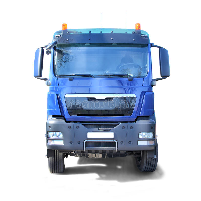 Blue Truck isolated on white. Blue Truck, Front View of the Cabin. Isolated on a white background royalty free stock photo