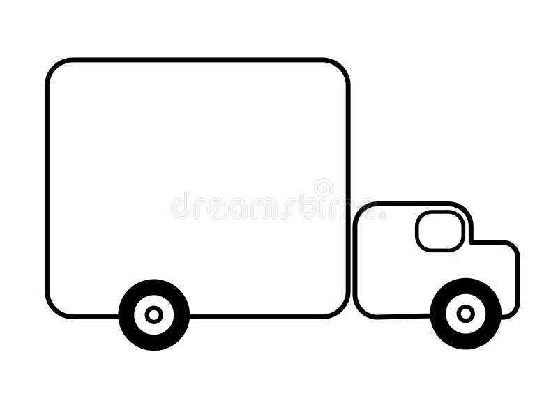 Truck Line Art Background. An illustration featuring a simple truck outline for use as a background. Line art (black and white illustrations) are perfect for stock illustration