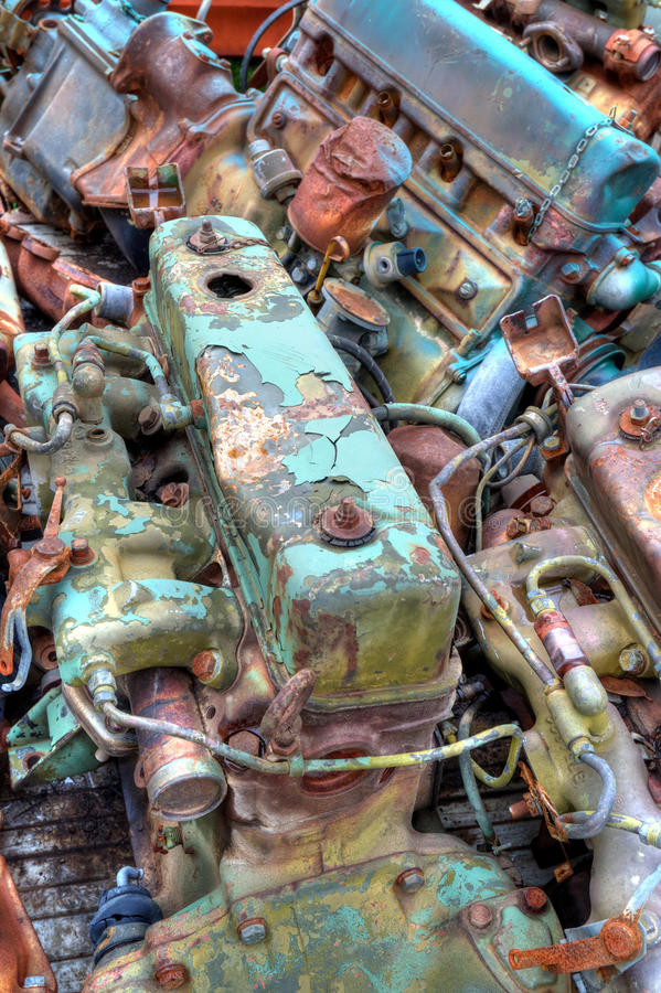 Truck Load Of Engines. Semi truck bed with a bunch of small engines on it royalty free stock photo