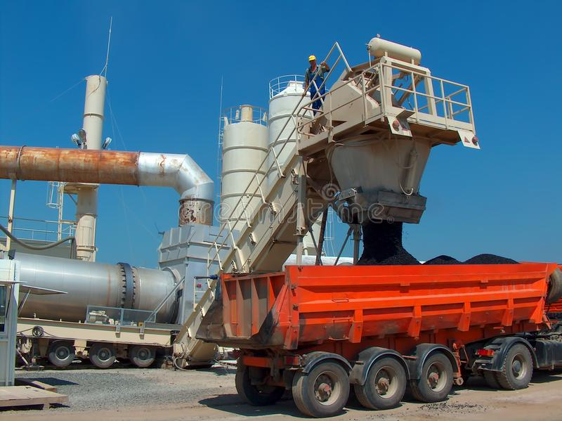 Truck in station bitumen royalty free stock images