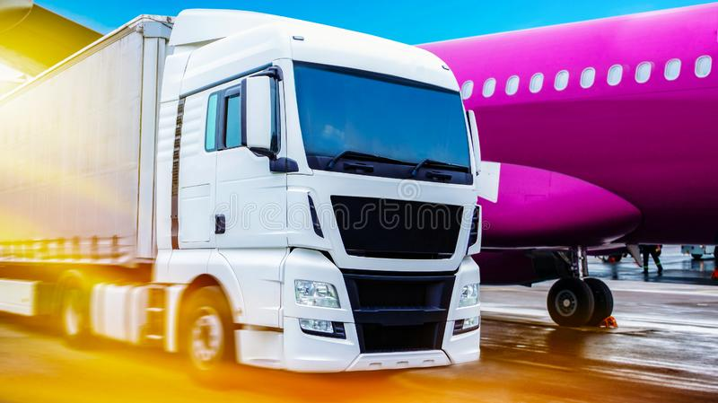 Truck on the road . Commercial transport . truck transport container royalty free stock photos