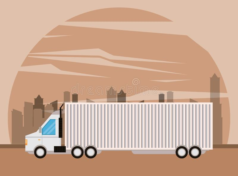 Truck logistic merchandise delivery cartoon. Truck transportation logistic merchandise delivery making travel in distribution city route cartoon vector royalty free illustration