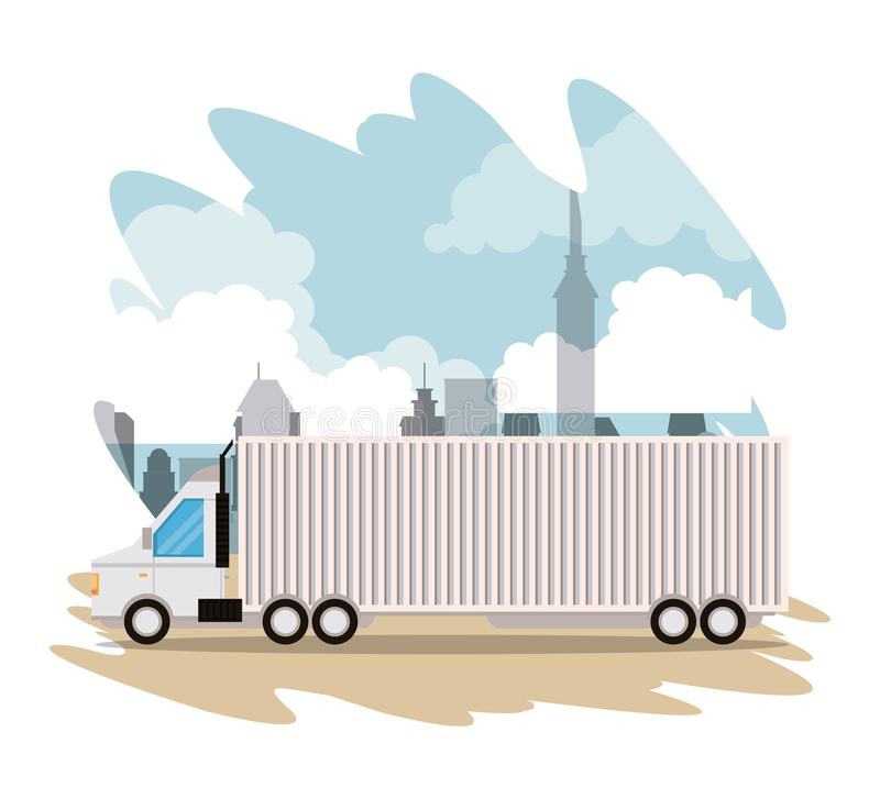 Truck logistic merchandise delivery cartoon. Truck transportation logistic merchandise delivery making travel in distribution city route cartoon vector vector illustration