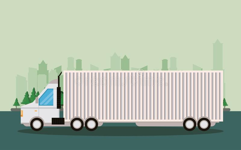 Truck logistic merchandise delivery cartoon. Truck transportation logistic merchandise delivery making travel in distribution city route cartoon vector stock illustration