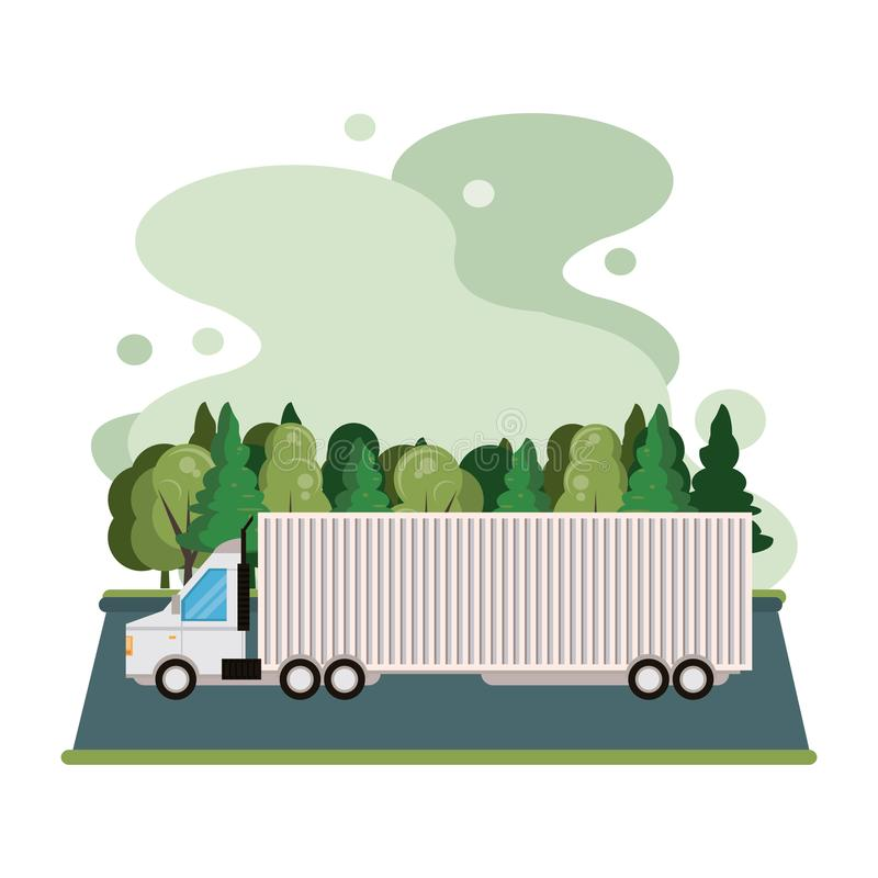 Truck logistic merchandise delivery cartoon. Truck transportation logistic merchandise delivery making travel in distribution route cartoon vector illustration royalty free illustration