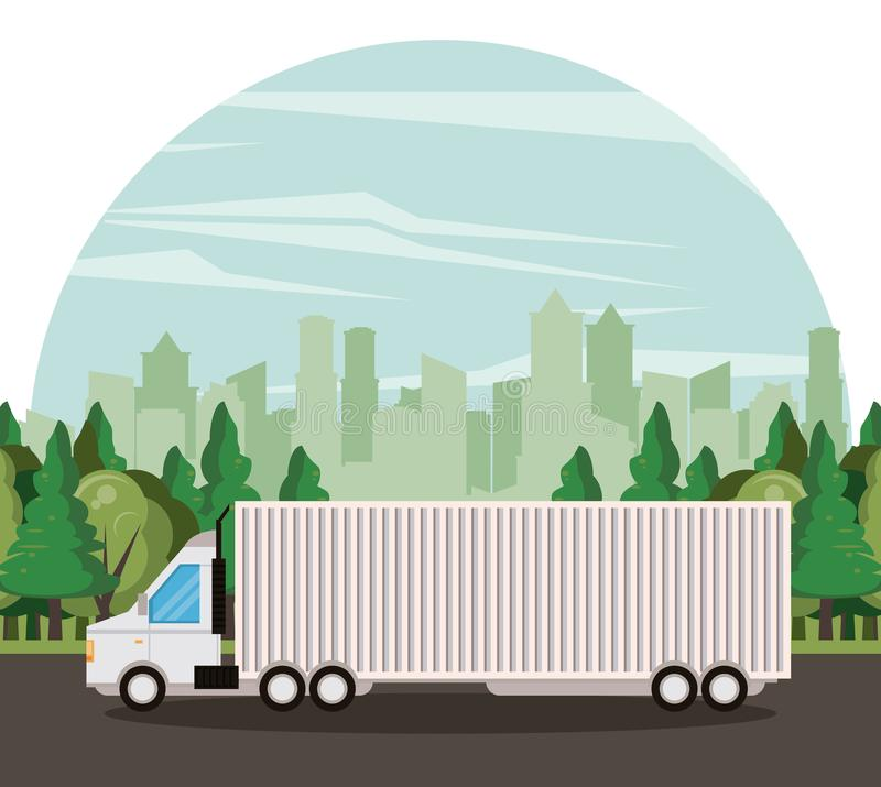 Truck logistic merchandise delivery cartoon. Truck transportation logistic merchandise delivery making travel in distribution route cartoon vector illustration vector illustration