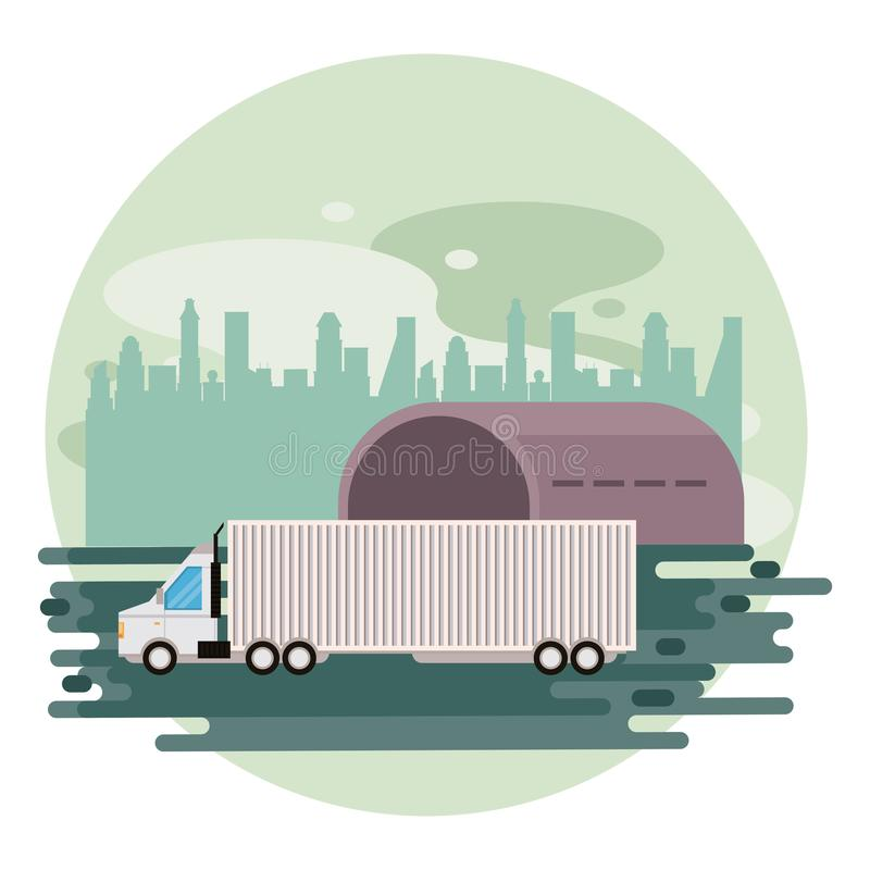 Truck logistic merchandise delivery cartoon. Truck transportation logistic waiting for merchandise in airport hangar delivery cartoon vector illustration graphic royalty free illustration