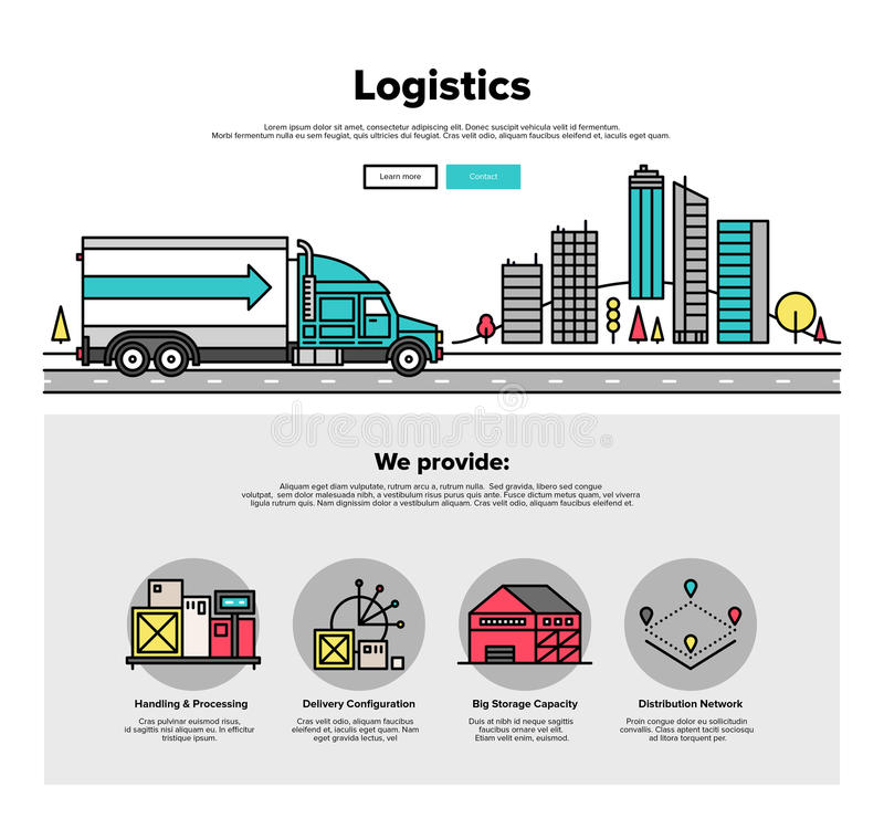 Truck logistics flat line web graphics vector illustration