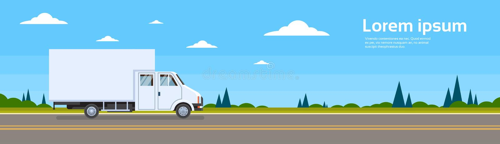 Truck Lorry Car On Road Cargo Shipping Delivery. Banner Flat Vector Illustration stock illustration