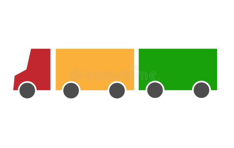Truck lorry with a red cab and a yellow body with a green trailer. Looks like a traffic light. Vector icon flat simple royalty free illustration