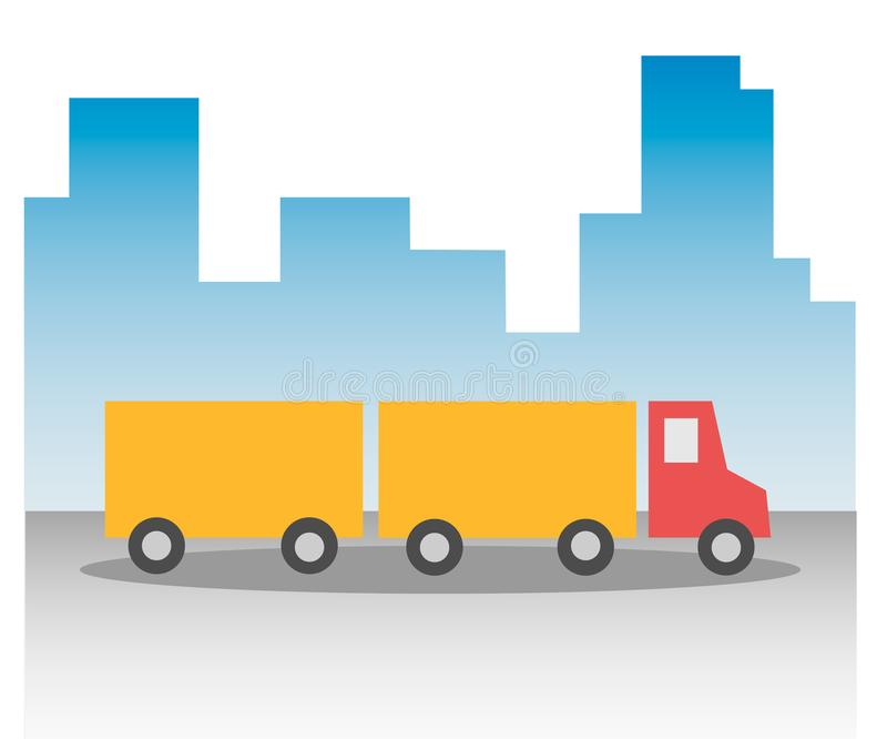 Truck lorry with a red cab and a yellow body and trailer in the background the silhouette of urban skyscrapers city. Under the wheels of the road in the fog stock illustration