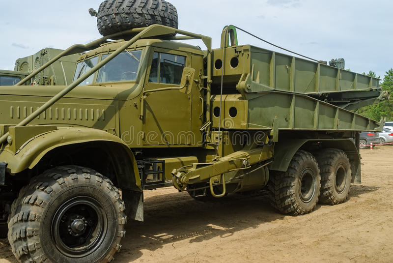 Truck with mechanized bridge TMM-3. Tyumen, Russia - June 11, 2016: Race of Heroes project on the ground of the highest military and engineering school. Truck stock images