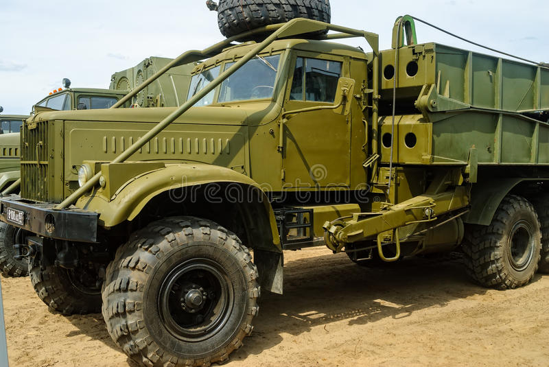 Truck with mechanized bridge TMM-3. Tyumen, Russia - June 11, 2016: Race of Heroes project on the ground of the highest military and engineering school. Truck stock image