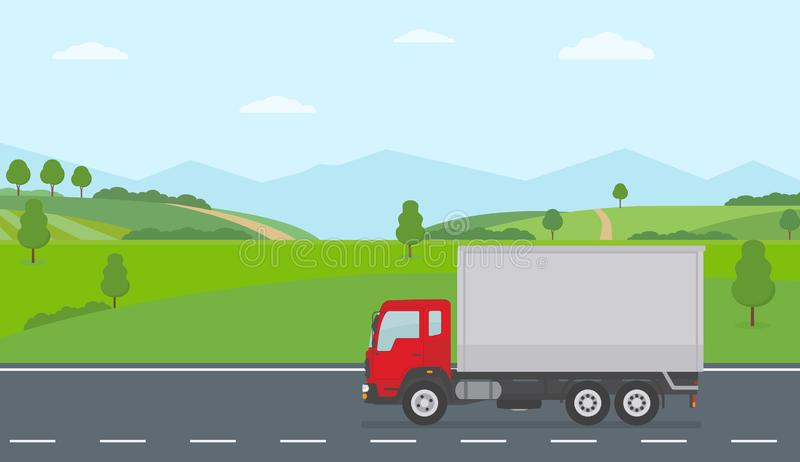 Truck moving on asphalt road along the green fields in rural landscape. Transport services concept. royalty free illustration